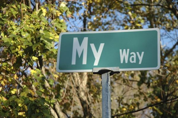 "street sign ""my way"""