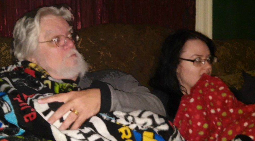 Bob and Victoria watching horror movie marathon