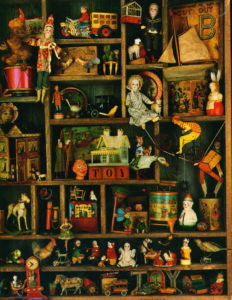 antique toy collection shadow box
