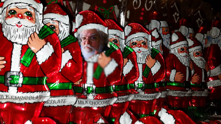 chocolate foil santas including rober0t m p.rice as one of the santas