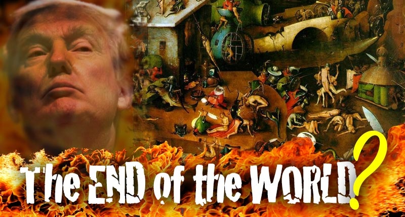President Trump looms within image of Bosche's Last Judgement and flames. The end of the world?